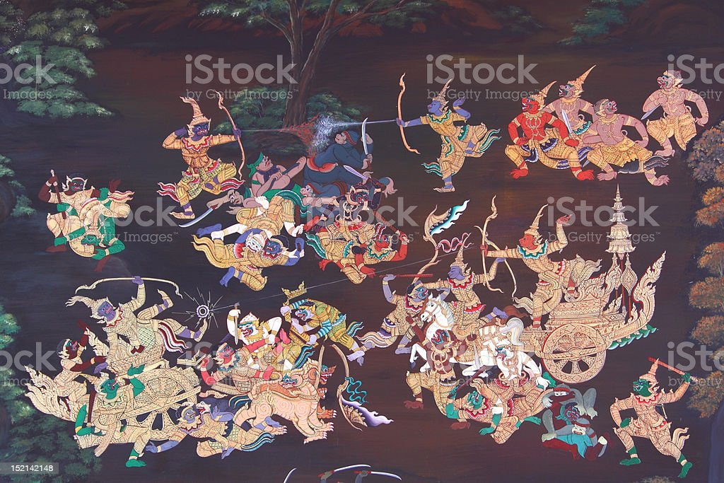 war in traditional Thai style art painting stock photo