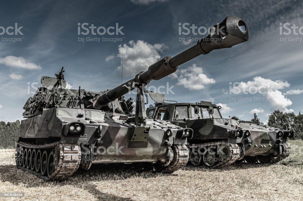 war machines on the battlefield stock photo