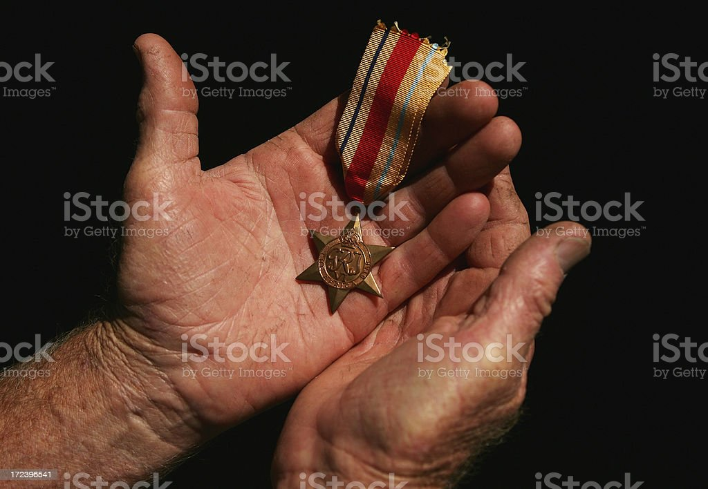 War Medal Being Held stock photo