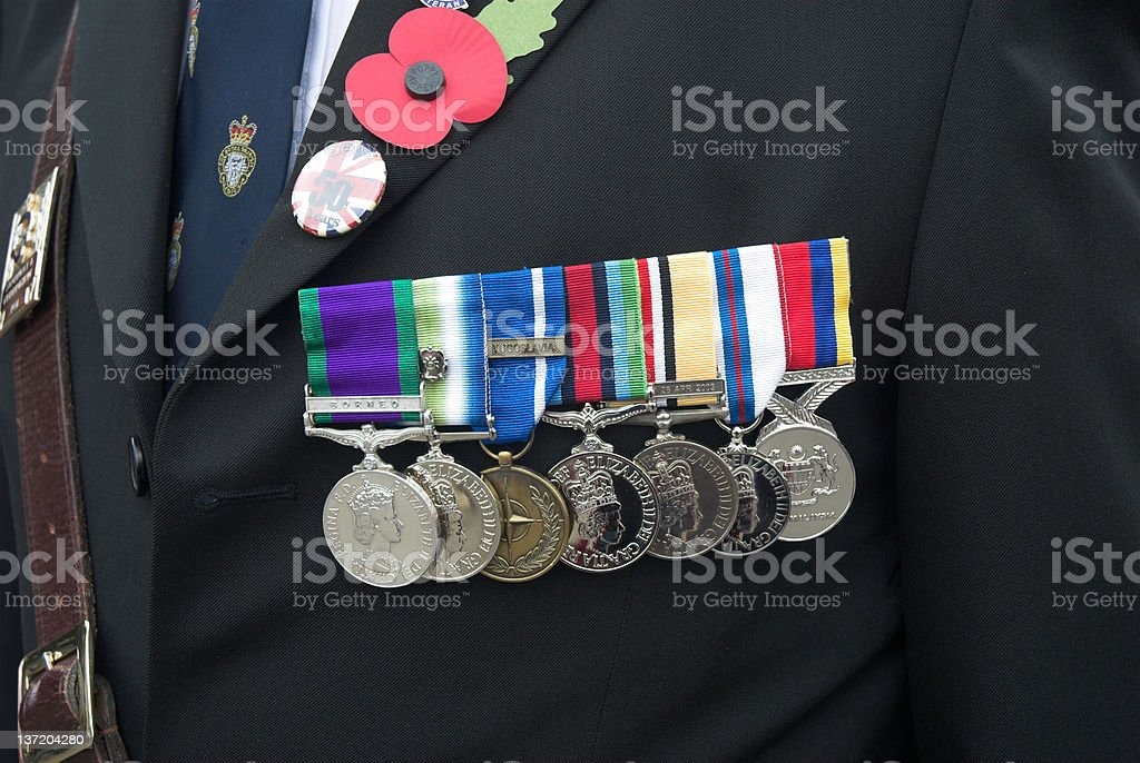 War medals displayed on uniform stock photo