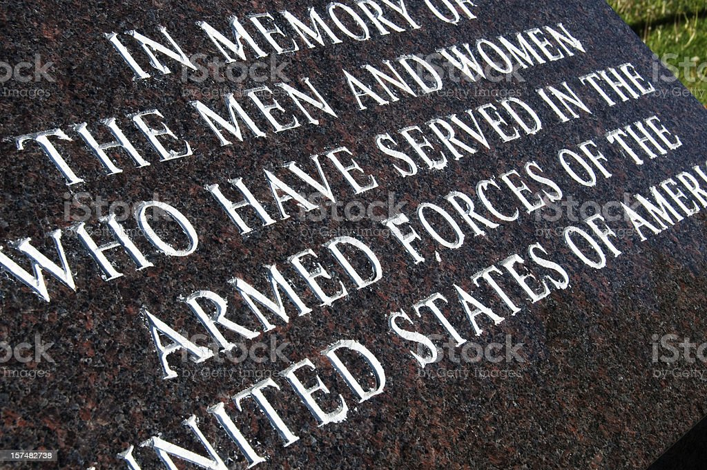 War memorial for the military and its fallen veterans royalty-free stock photo