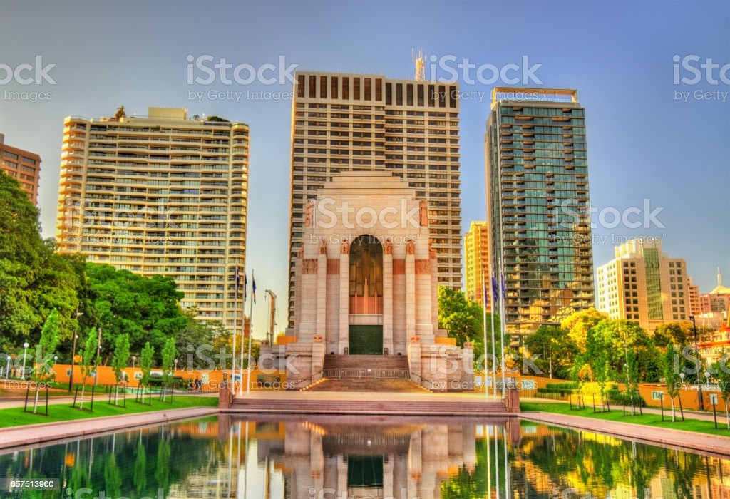 ANZAC War Memorial in Hyde Park - Sydney, Australia stock photo