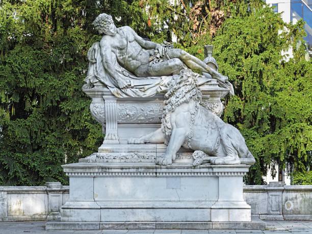 War Memorial in the Hofgarten park of Dusseldorf, Germany stock photo