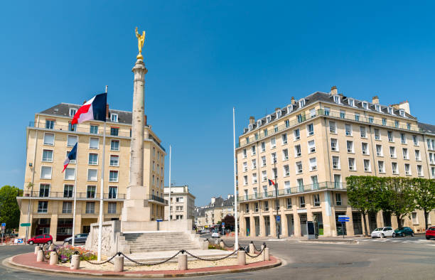 war memorial on marechal foch square of caen, france - caen stock pictures, royalty-free photos & images