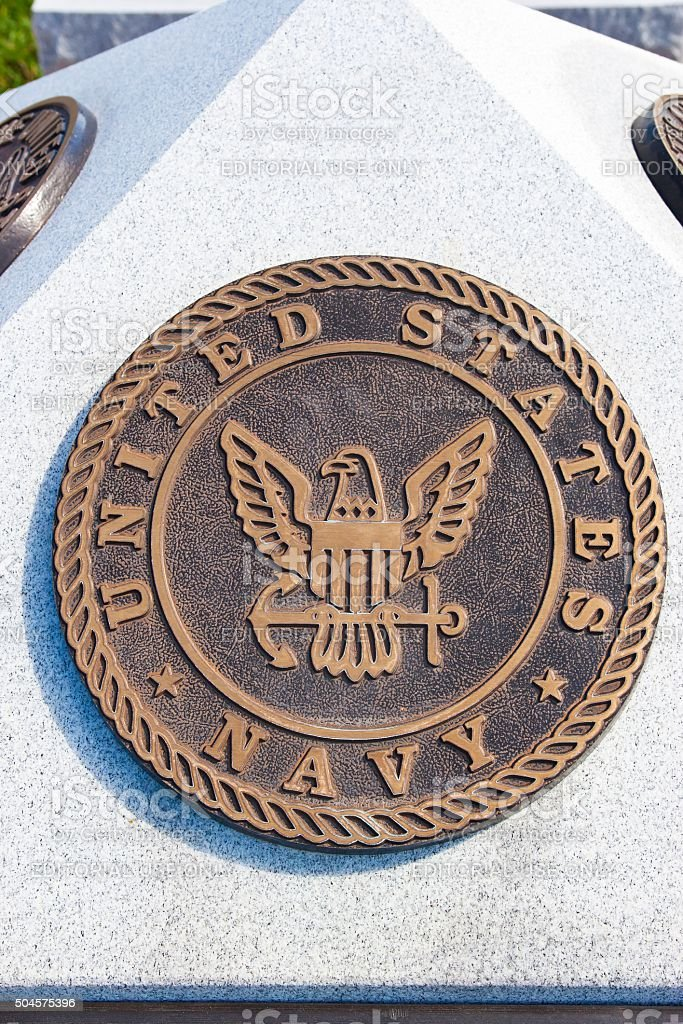 War Memorial Plaque United States Navy stock photo