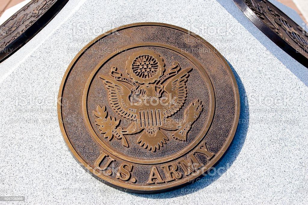 War Memorial Plaque US Army stock photo