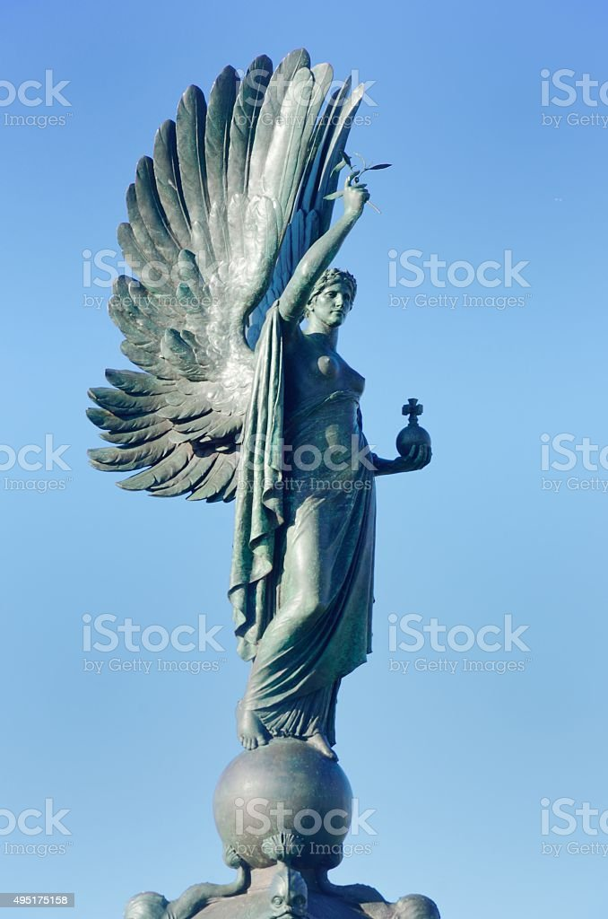 War memorial statue and wings stock photo