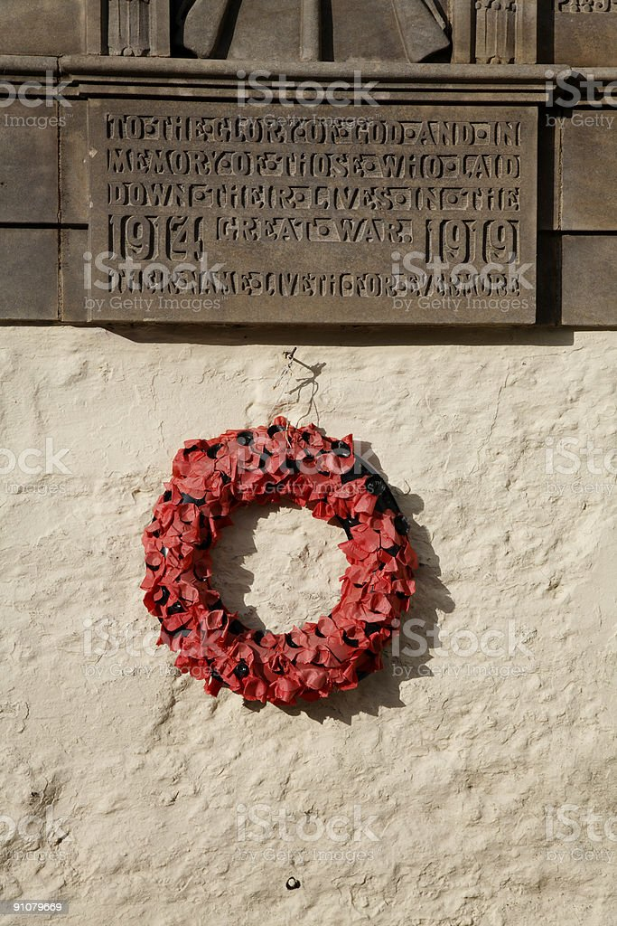 War Memorial With Poppy Wreath royalty-free stock photo