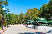 Yuzhno Sakhalinsk, Russia - October 7, 2013: Open air War museum in Yuzhno Sakhalinsk city, Russia Battle tanks used in world war II can be seen in the picture. This museum was built for remembering the end of  World War II.