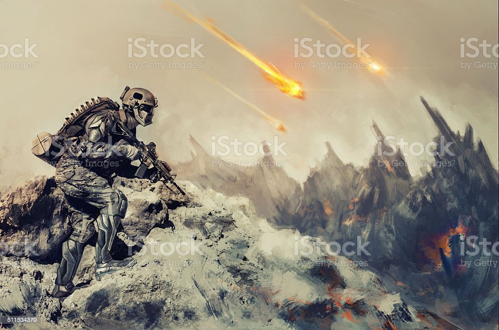 War on an alien planet stock photo