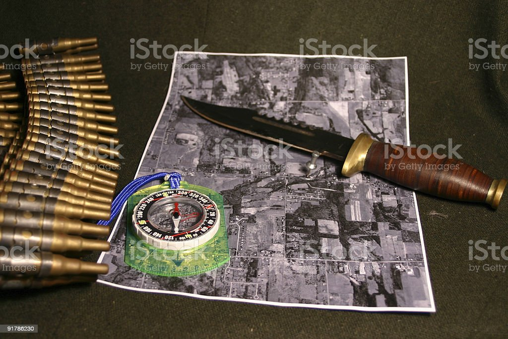 War Plans - Knife, Maps, Bullets royalty-free stock photo