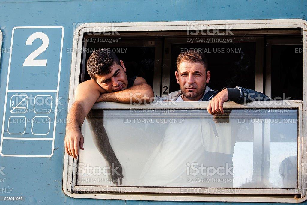 Kriegsflüchtlinge im Gyekenyes Railway Station – Foto