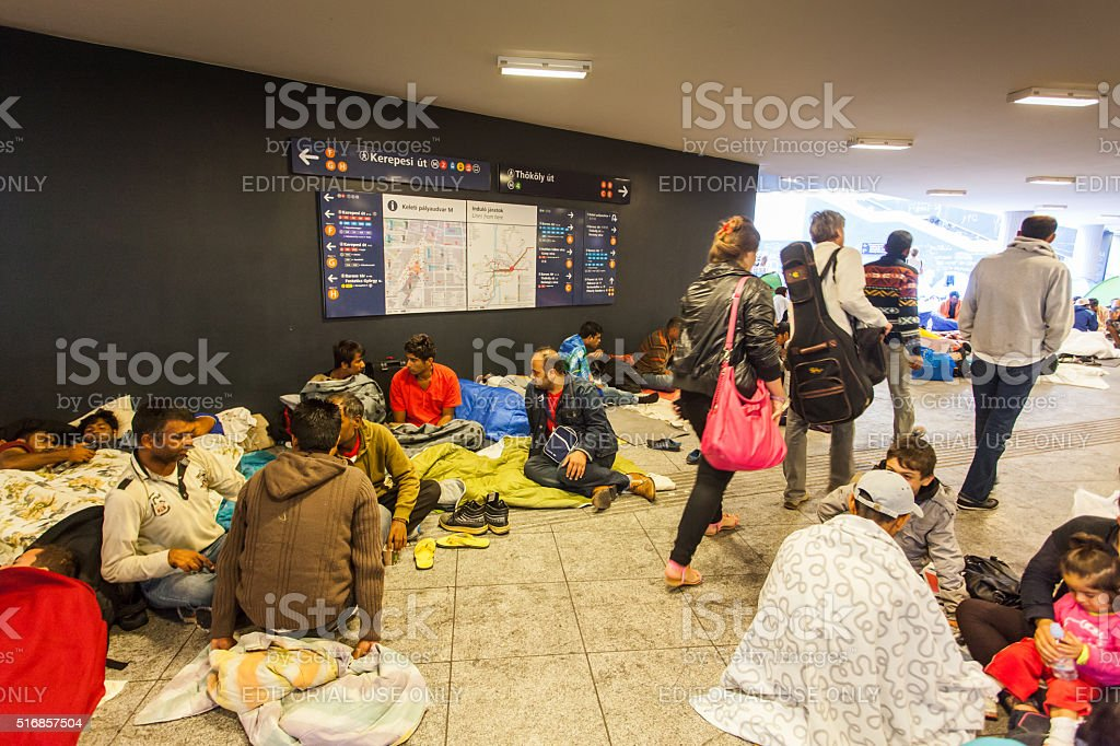 War refugees at the Keleti Railway Station stock photo