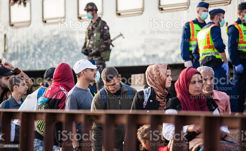 War refugees at Zakany Railway Station stock photo