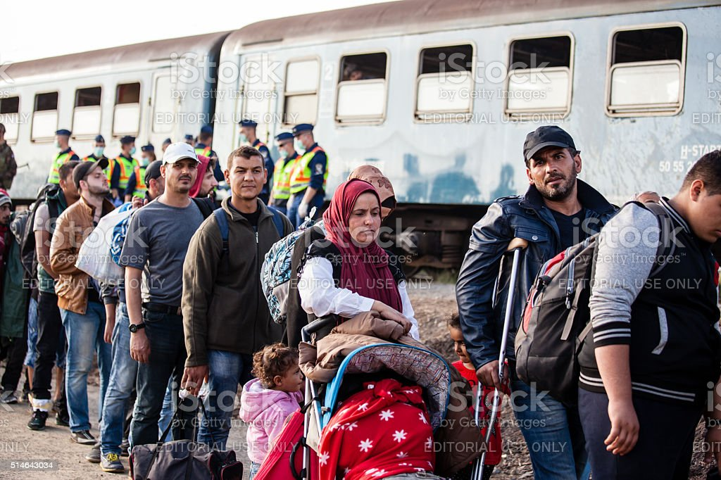 War refugees at Zakany Railway Station stock photo