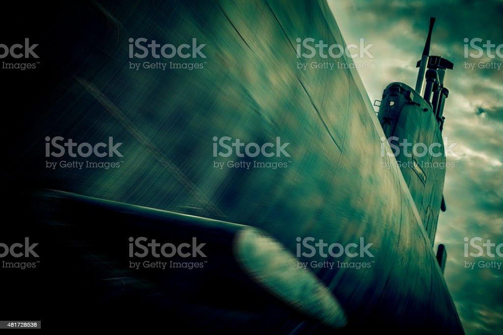 war submarine fight - blurred style photo stock photo
