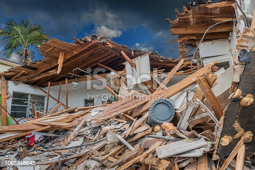 House destroyed by the passage of a hurricane in Florida.