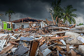 House destroyed by the passage of a hurricane in Florida