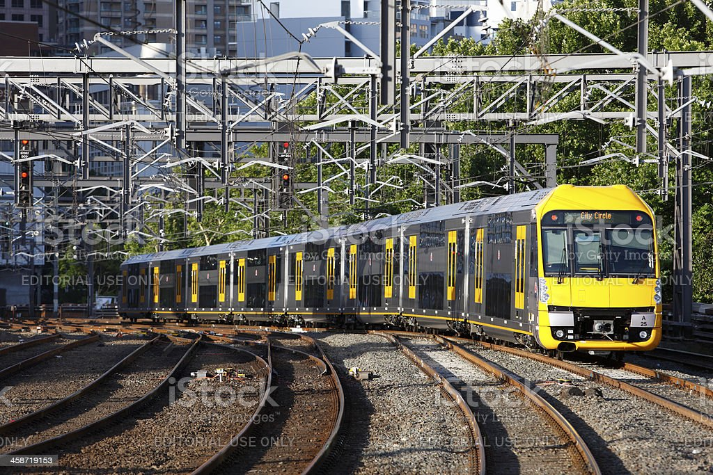 Waratah commuter train departs Sydney Central Station stock photo