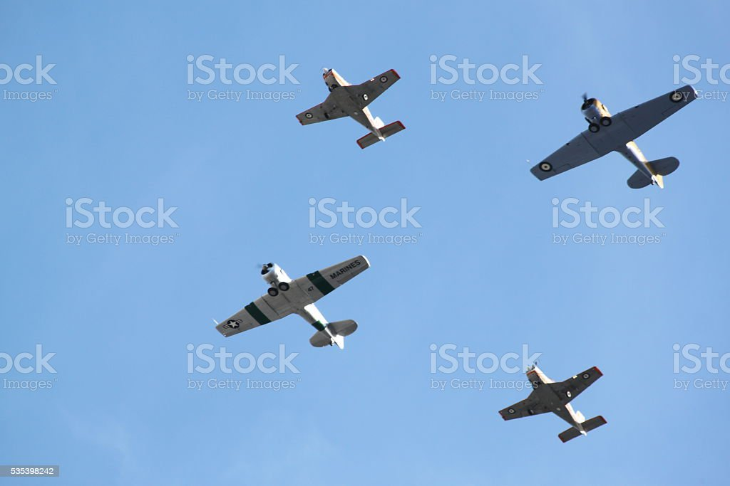 WW2 Warbird Planes Formation Flying stock photo