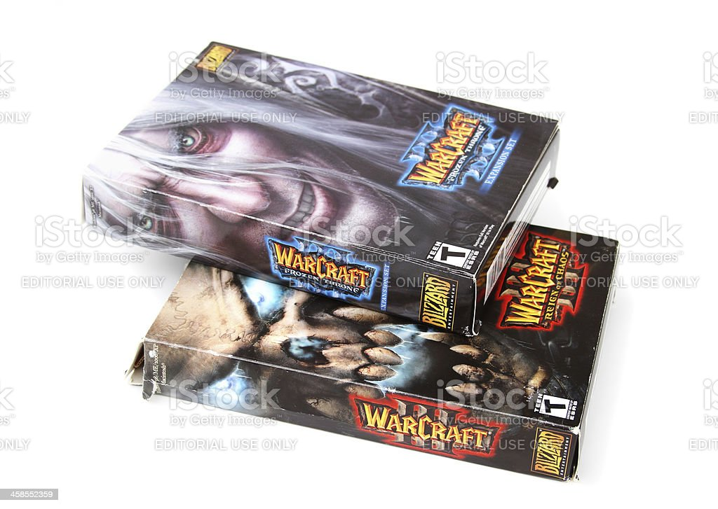 Warcraft multiplayer computer software boxes royalty-free stock photo