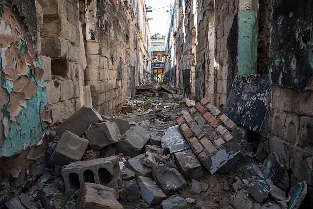 戦争した建物でスラビャンスク,ウクライナ ストックフォト