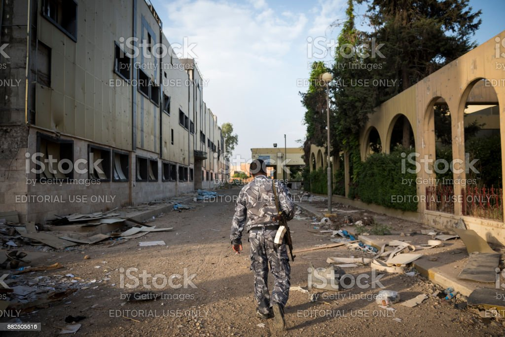 War-damaged buildings at Al-Salam hospital in Mosul, Iraq stock photo