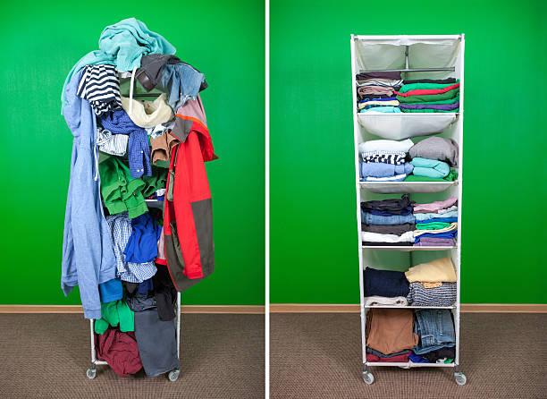 Garderobe vor und nach der Reinigung bis – Foto