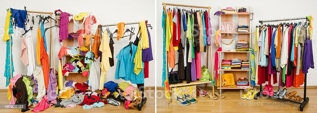 Wardrobe before messy after tidy. stock photo