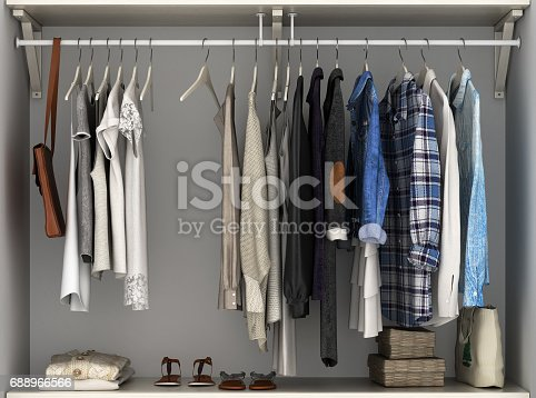 istock Wardrobe built-in wall with clothes 3d render 688966566