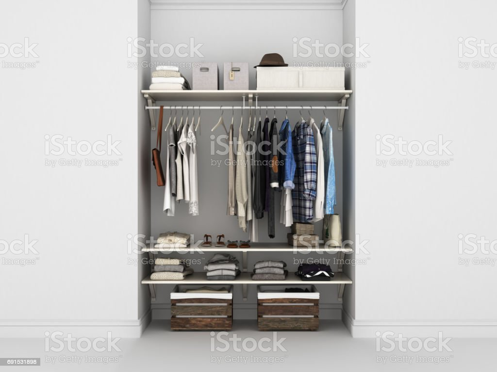 Wardrobe built-in wall with clothes 3d render stock photo