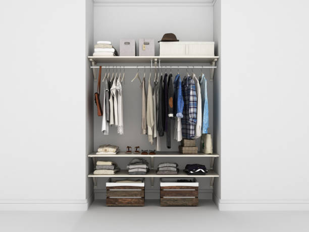 wardrobe built-in wall with clothes 3d render - closet stock photos and pictures