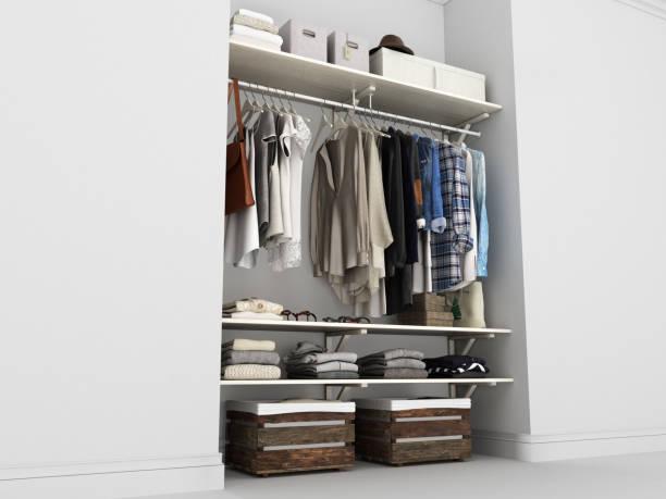eingebaute wand garderobe mit kleidung 3d render - garderobe mit schuhschrank stock-fotos und bilder