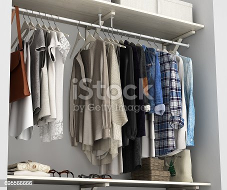istock Wardrobe built-in wall with clothes 3d render 695566666