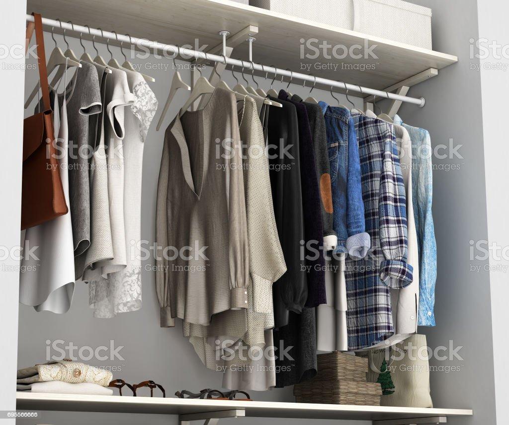Empotrado de armario con ropa 3d render - foto de stock