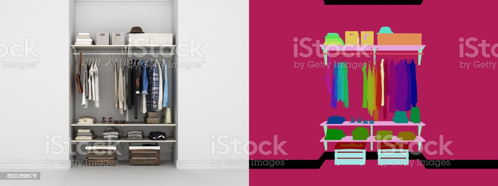 Wardrobe built-in wall with clothes 3d render with color alpha map stock photo