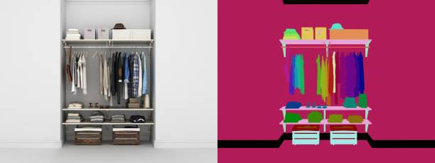eingebaute wand garderobe mit kleidung 3d render mit alpha farbkarte - garderobe mit schuhschrank stock-fotos und bilder