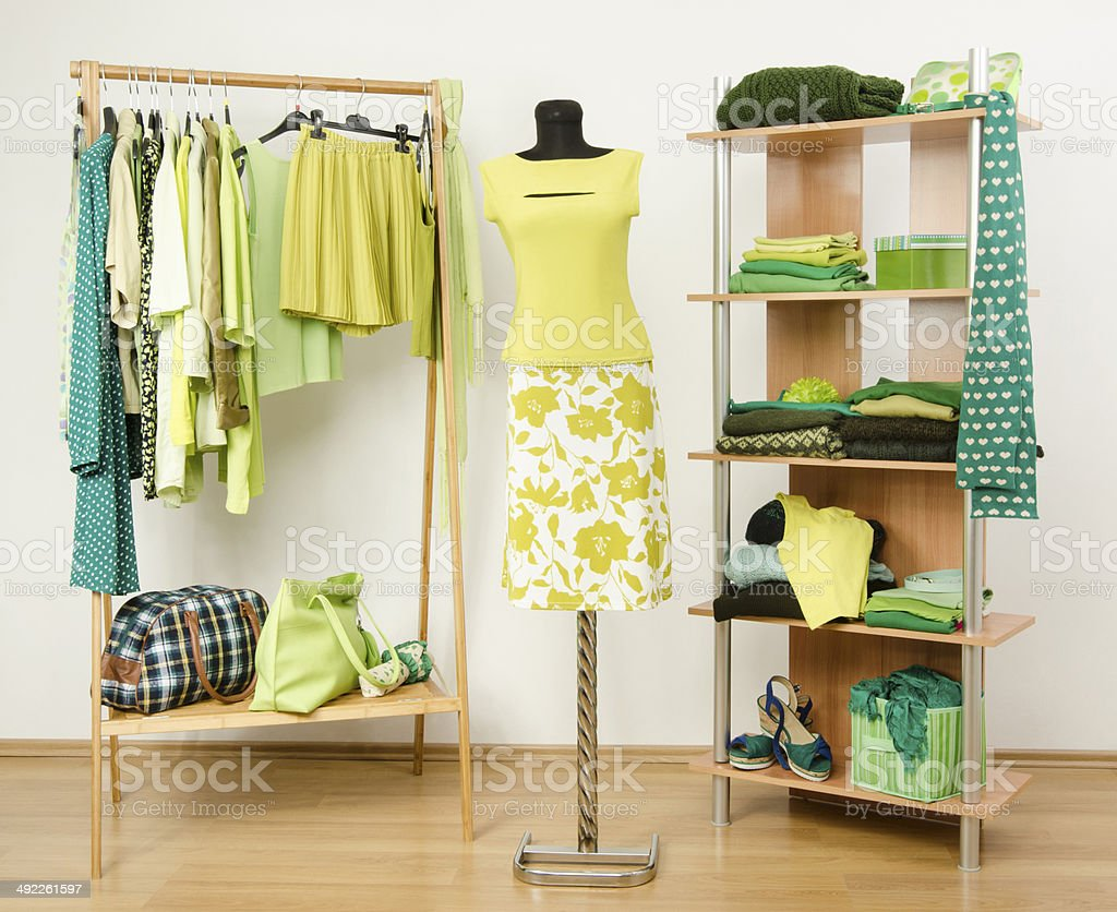 Wardrobe with all shades of green clothes and accessories. stock photo