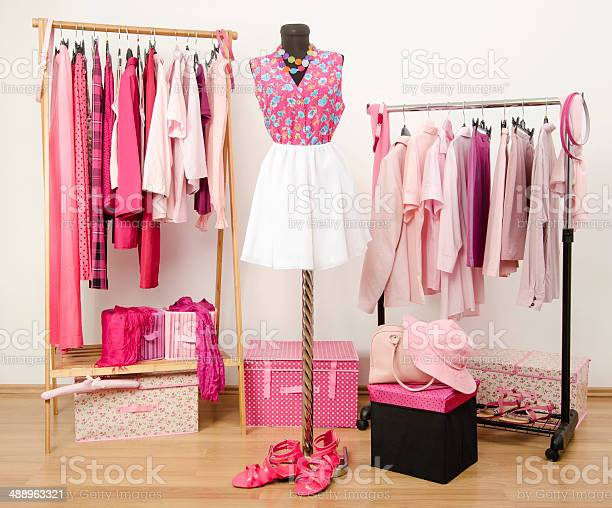 Wardrobe with all shades of pink clothes shoes and accessories picture id488963321?b=1&k=6&m=488963321&s=612x612&h=orbjibwsqt2aobhjfbehxha8fe3cakpm9ho0ye2woh4=