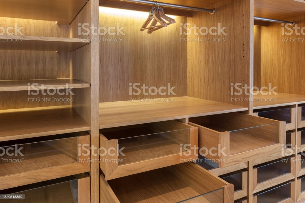 Wardrobe, with empty boxes. Ready for use stock photo