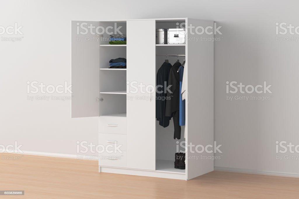 Wardrobe with open doors stock photo
