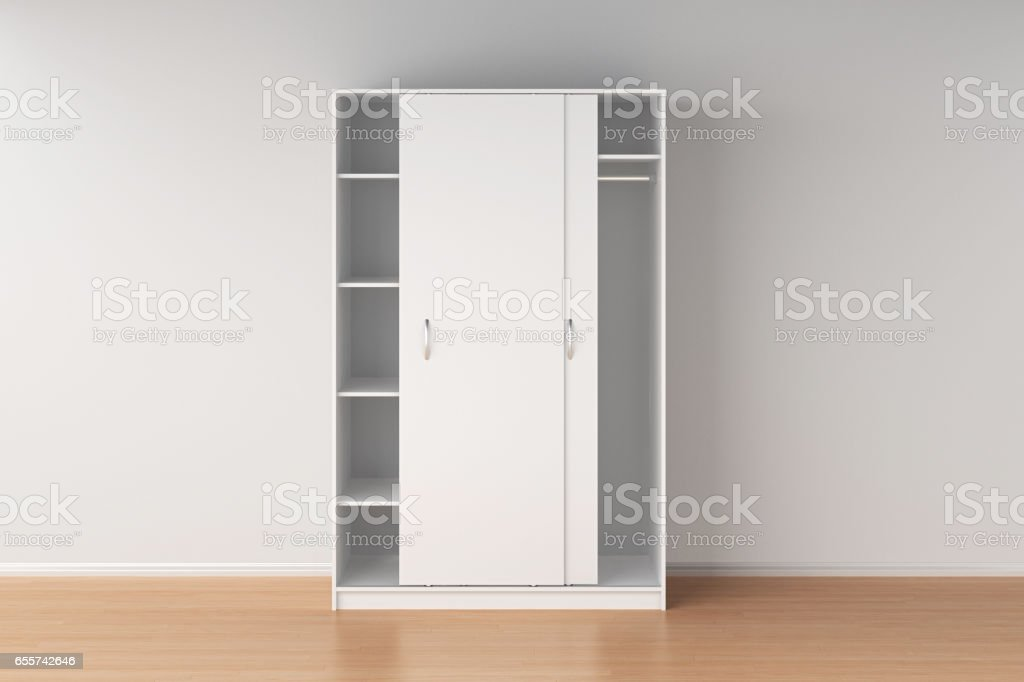 Wardrobe with sliding doors stock photo