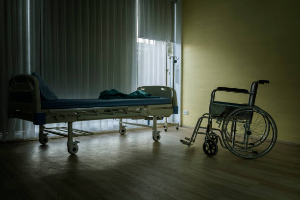 wards that have only beds and wheelchairs without sick people in a depressed atmosphere stock photo