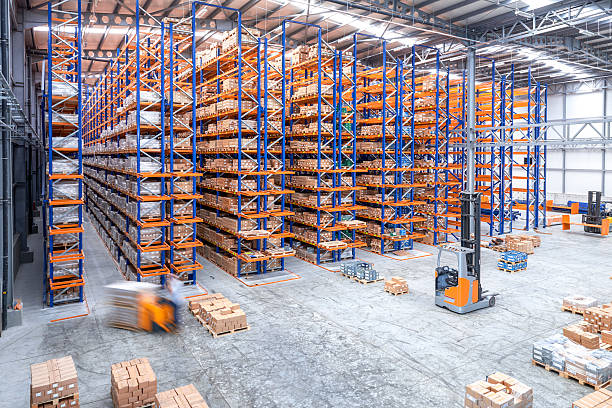 Warehouse aisle stock photo