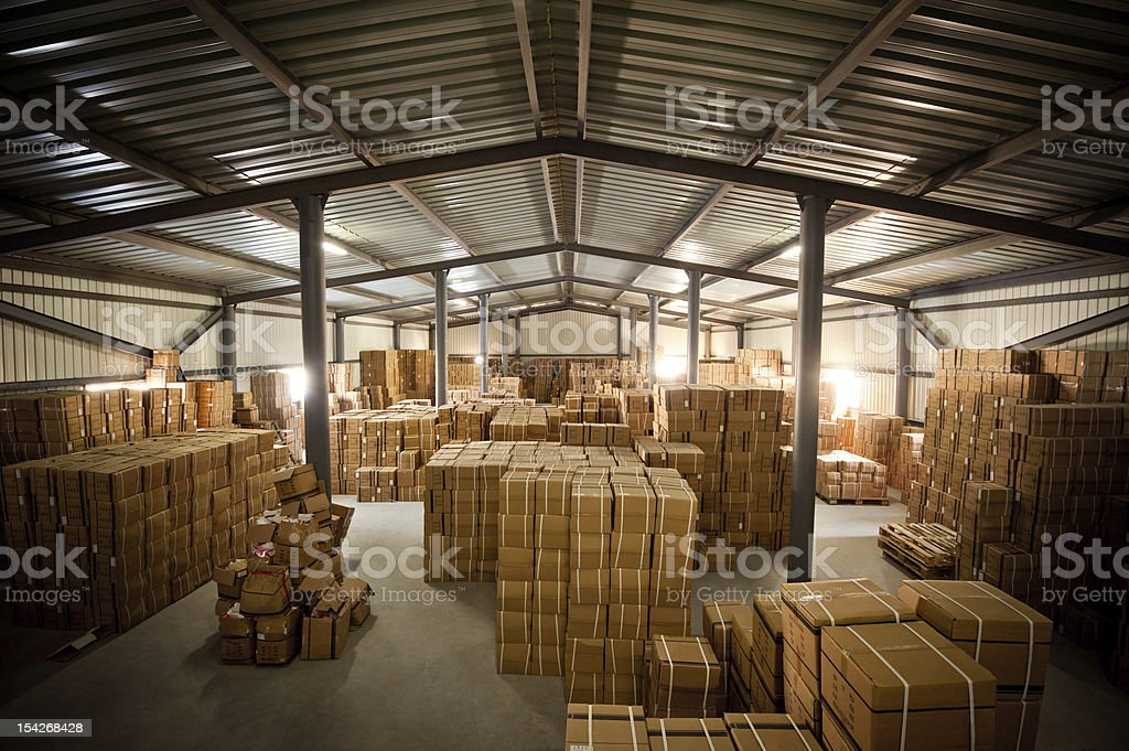 Warehouse and  box royalty-free stock photo