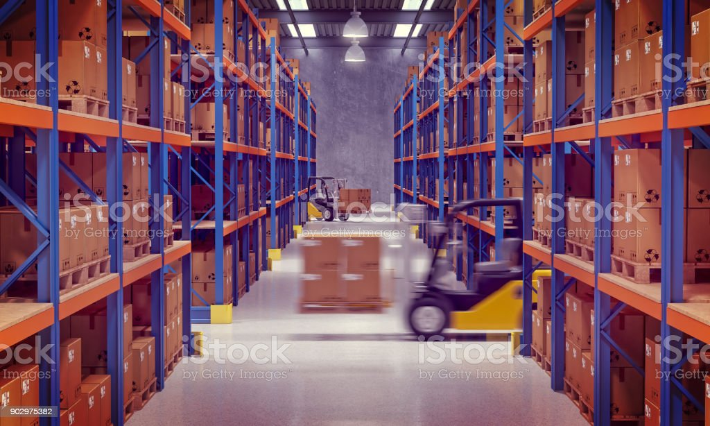 warehouse and forklift stock photo