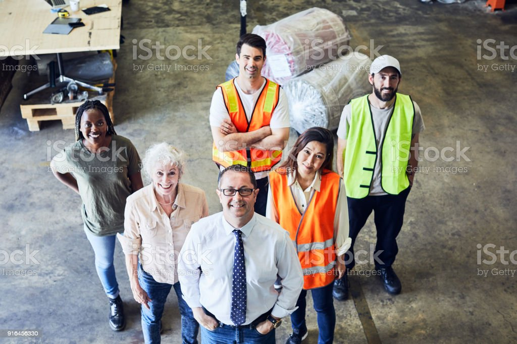 Lager und Industrie Arbeiter in Australien, Team, Blick in die Kamera. – Foto