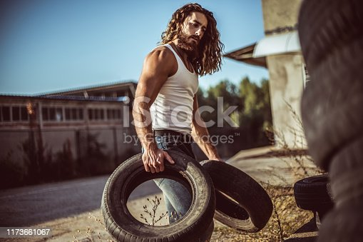 498879174 istock photo Warehouse automobile tires 1173661067