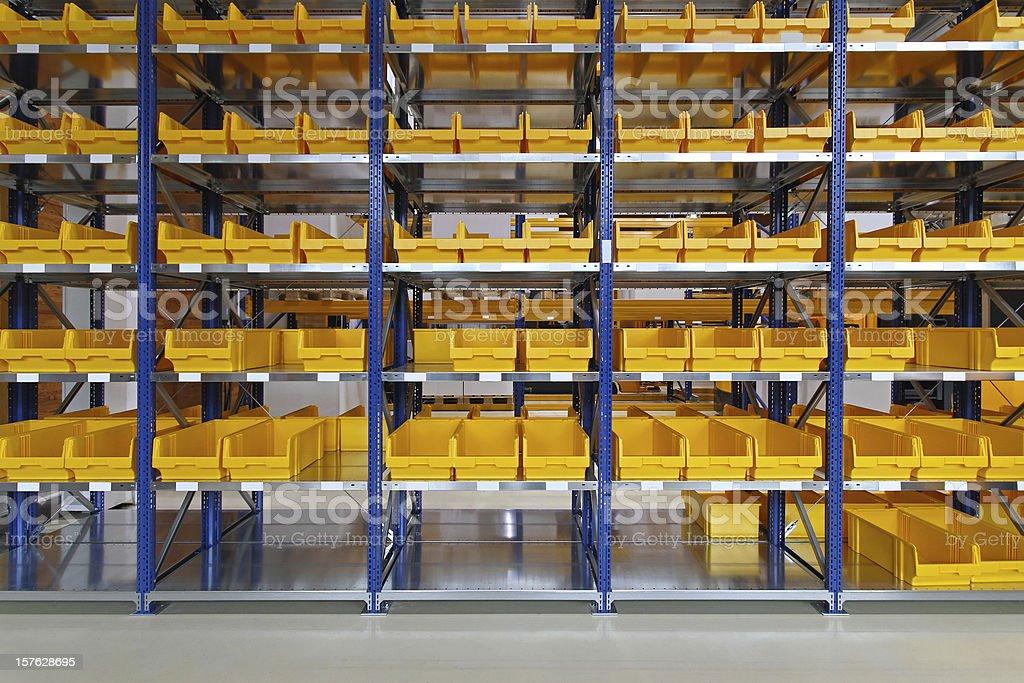 Warehouse bin trays stock photo