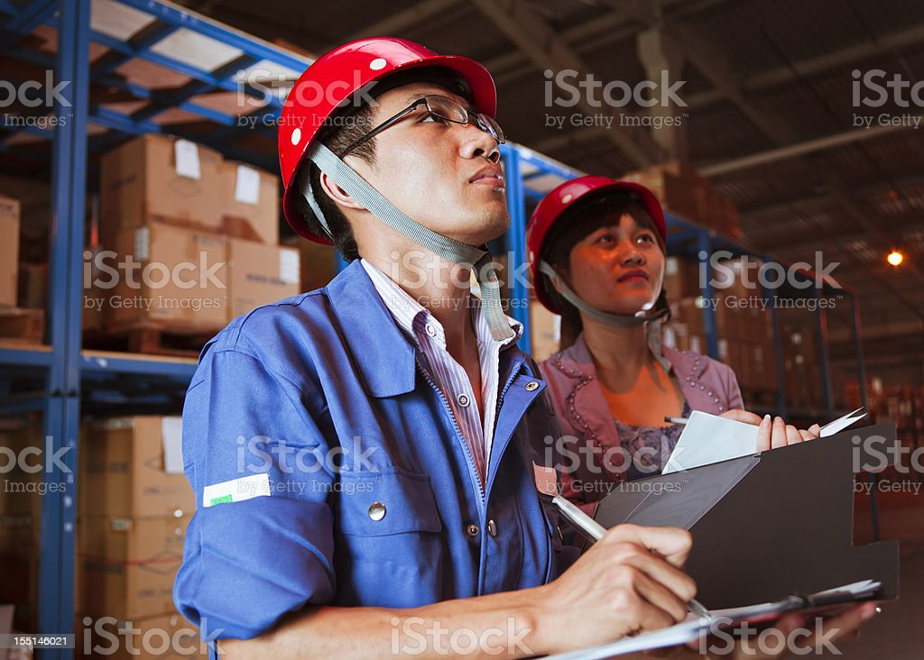 Warehouse Business Person Recording royalty-free stock photo